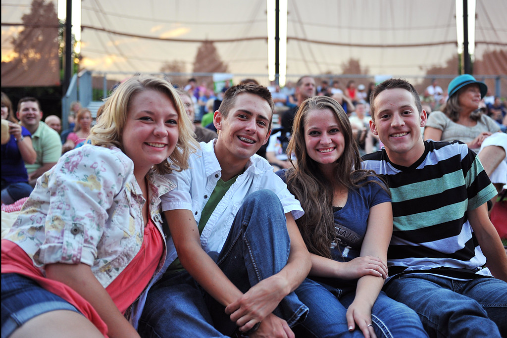 Shelby Taylor, Casey Hendricks, Lindsey Stout, and Jed Fisher at A Cappellastock enjoying the performance by Delilah at the Ogden Amphitheater on August 25, 2012. (ROBBY LLOYD/Special to the Standard-Examiner)