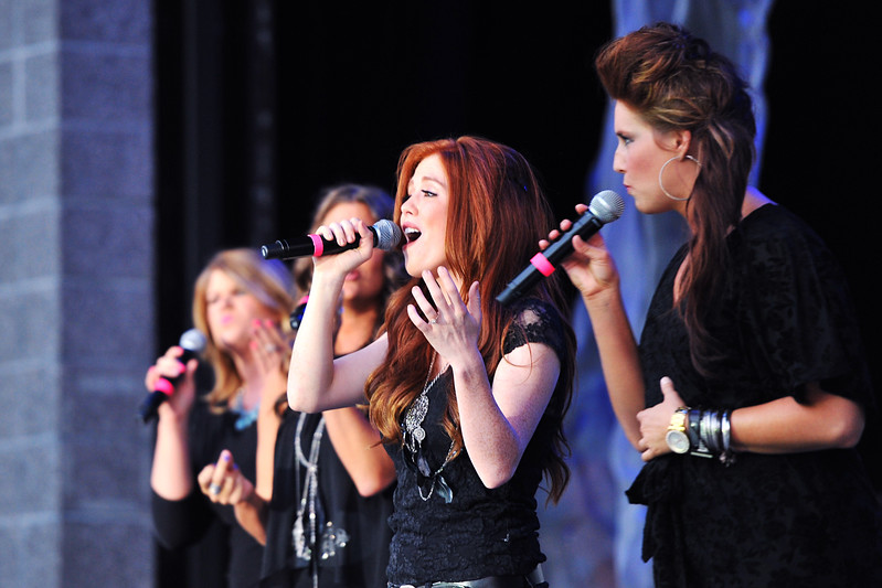 Laina Walker sings with Delilah as the opeing act of A Cappellastock at the Ogden Amphitheater on August 25, 2012. (ROBBY LLOYD/Special to the Standard-Examiner)