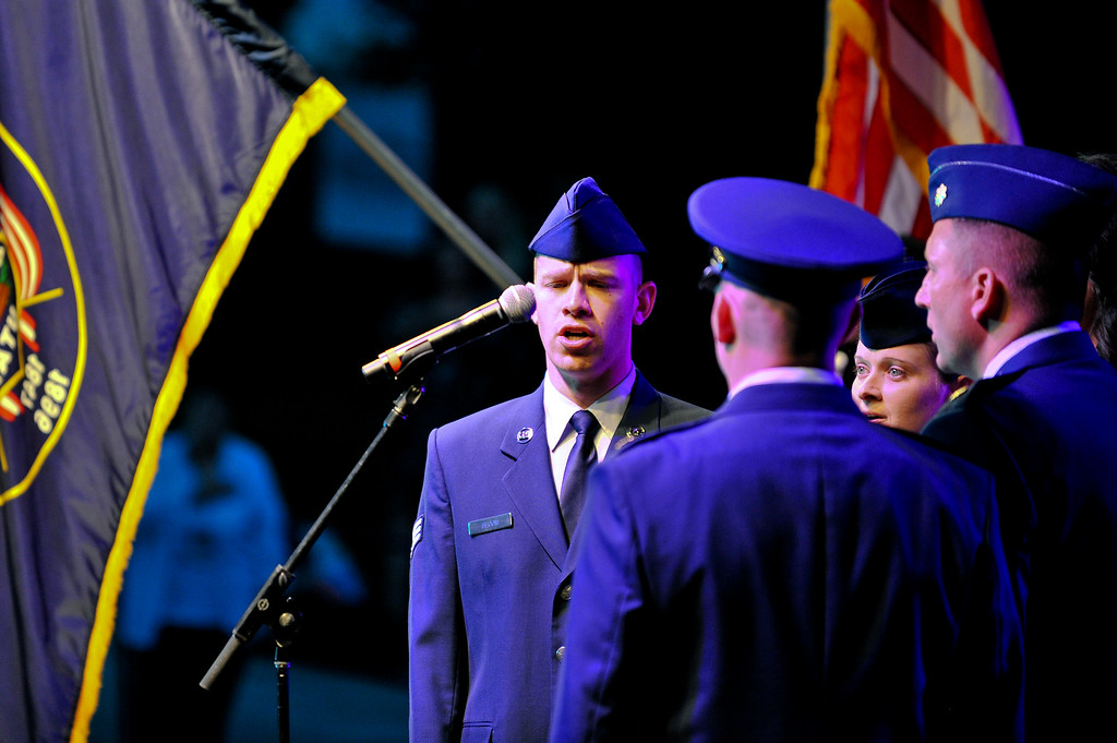 Members of the Hill Air Force Base Color Guard sing the National Anthem before the concert starts at the Layton Amphitheater on September 3, 2012. (ROBBY LLOYD/ Special to the Standard-Examiner)