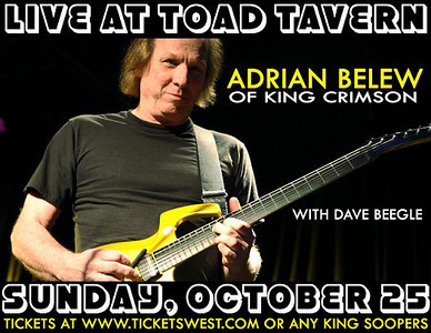 I lifted this from Toad Tavern's website.  I read on her blog Robin Slick (Julie and Eric's mom) is a little miffed that promoters are not billing these shows as The Adrian Belew Power Trio and/or that the Slick's aren't mentioned as performing.  Sounds like it's been happening ever since they've been performing with Adrian.  Guess I can't blame her because the Slicks are fantastic!  She should be proud.    (For those who don't know Eric and Julie Slick are alumni of  Paul Green's School of Rock in Philly, they are only in their early 20's and have been touring with Adrian for three plus years now.  They play well beyond their years!).  Thanks to Toad's for hosting the show though, was a very fun night, but note to promoters.  ;-)