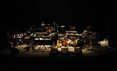 Pre-show stage with Pindral's and Fish's gear.