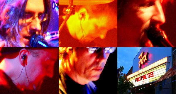 Porcupine Tree's touring lineup.  Steve Wilson, Gavin Harrison, John Wesley, Colin Edwin and Richard Barbieri w/ Fox Theater marquee.