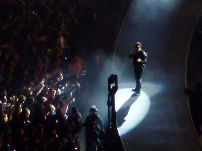 Bono out on outer circular stage.
