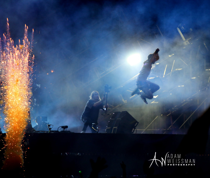 Andrew Taggert of Chainsmokers Jumps off Platform Surrounded by Fireworks During Ultra