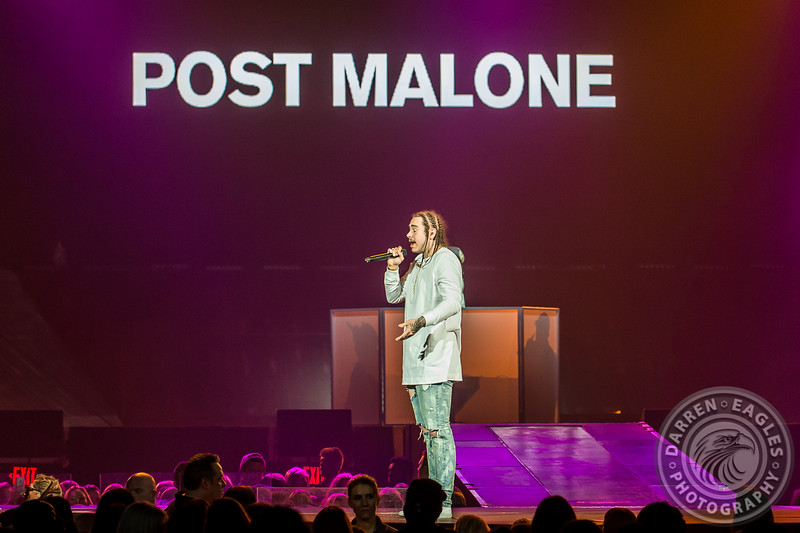 16-05-18 - Toronto  - Canadian pop superstar JUSTIN BIEBER brought his Purpose Tour to the Air Canada Centre.  Opening the show was POST MALONE and MOXIE RAIA.  Pictured: Post Malone.<br /> (c) 2016 - Darren Eagles Photography
