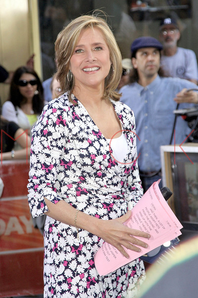 Meredith Viera getting ready to introduce Blondie in concert on The Today Show.