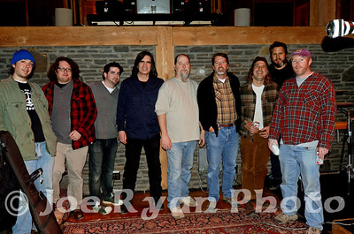 The Gourds during the OLD MAD JOY sessions at Levon Helm's studio in Woodstock, NY with Larry Campbell. March 26, 2011