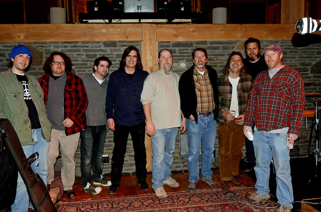 The Gourds during the OLD MAD JOY sessions at Levon Helm's studio in Woodstock, NY with Larry Campbell.<br /> March 26, 2011