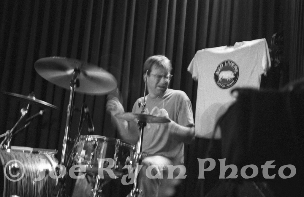 Charlie Llewellin, original drummer for The Gourds<br /> Sons of Herman Hall<br /> Dallas, Texas<br /> January 11, 1997