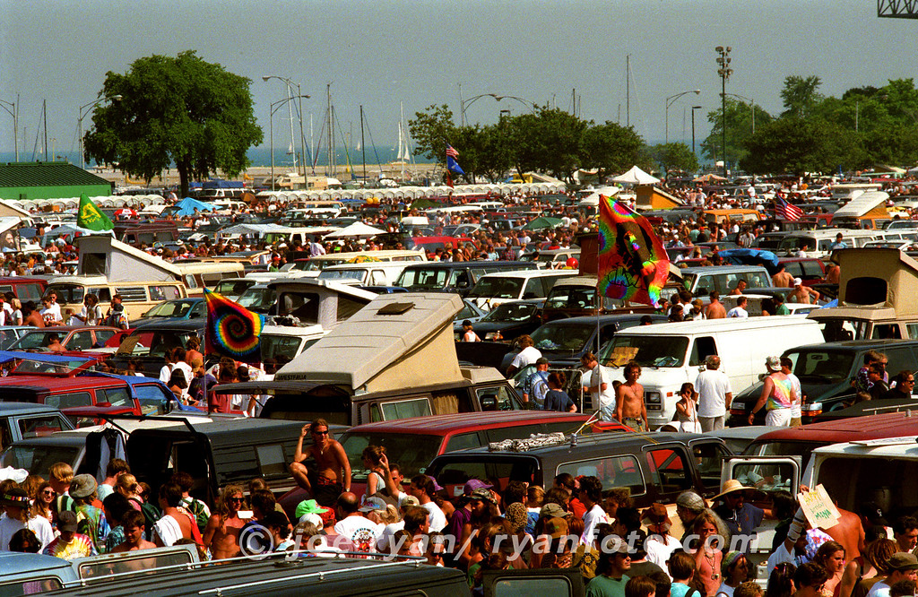 Parking lot scene at the Grateful Dead show<br /> Soldier Field, Chicago<br /> July 8, 1995