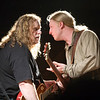 Warren Haynes confers with Derek Trucks prior to his guest appearance with the Derek Trucks Band at the 2009 Wanee Festival in Live Oak, Florida