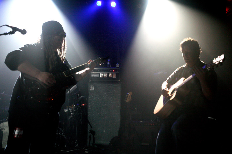 Papa Mali and Galactic's Jeff Raines performing a duet at Irving Hall in New York City.