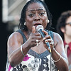 """Sharon Jones seems to like my photography as she gave me a """"thumbs up"""" during her performance with the Dap Kings at the 2010 Gathering of the Vibes at Seaside Park in Bridgeport, CT."""