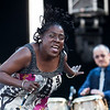 """Sharon Jones' hair was """"flipping out"""" she was dancing so hard during her performance at the 2010 Gathering of the Vibes at Seaside Park in Bridgeport, CT."""