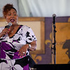 """Tolynda """"Kiki"""" Chapman singing during a tribute to Danny and Blue Lu Barker in the Economy Hall tent, April 26."""