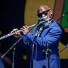 Karl Denson as flutist during KDTU's performance on the Congo Square stage, April 26.