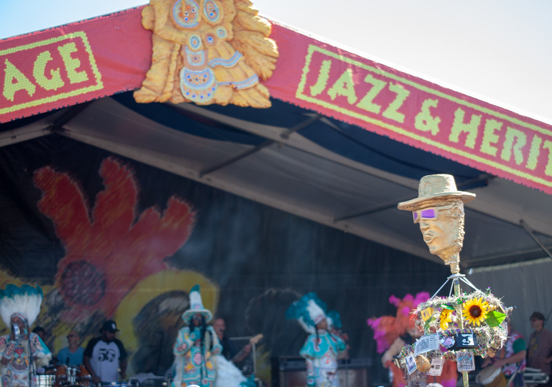 """The """"Fess Head,"""" an icon, makes an appearance during the Big Chief Monk Boudreaux and Golden Eagle Indians' set at the Jazz & Heritage stage, April 28. It ain't Jazz Fest without Professor Longhair being represented!"""