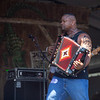 Dwayne Dopsie jamming with the Zydeco Hellraisers on the Fais Do do stage, April 26. If I were that amp, I'd be worried about that 'gator eating me up!