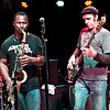 Karl Denson, seen here with bassist Carl Dufrene (and drummer Eric Bolivar in background) sits in with Anders Osborne's band duirng their set at the Soundstage in Baltimore, MD (2-10-12)