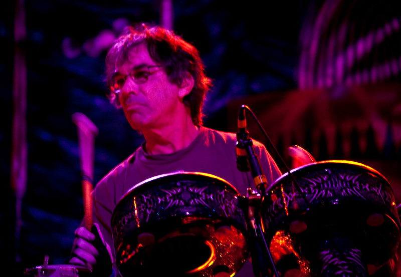 Mickey Hart on percussion with the Mickey Hart Band at the 2008 Rothbury music festival in Michigan.