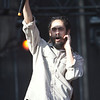Damian Marley asking the crowd to sing One Love with him during his set with NAS at Rothbury 2009