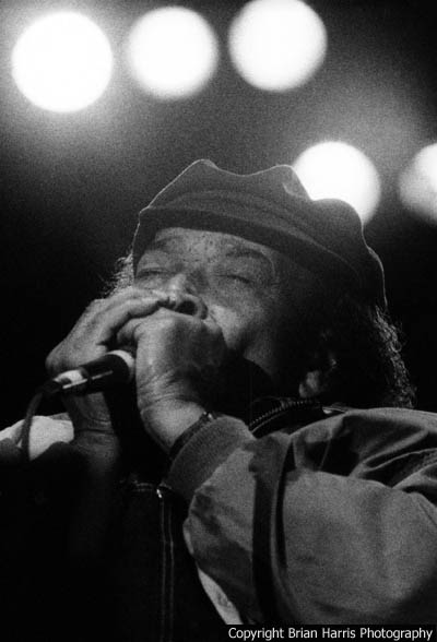 James Cotten playing the harmonica at the King Biscuit Blues Festival.  Handheld at 200mm F2.8 3200 ASA Nikon F5