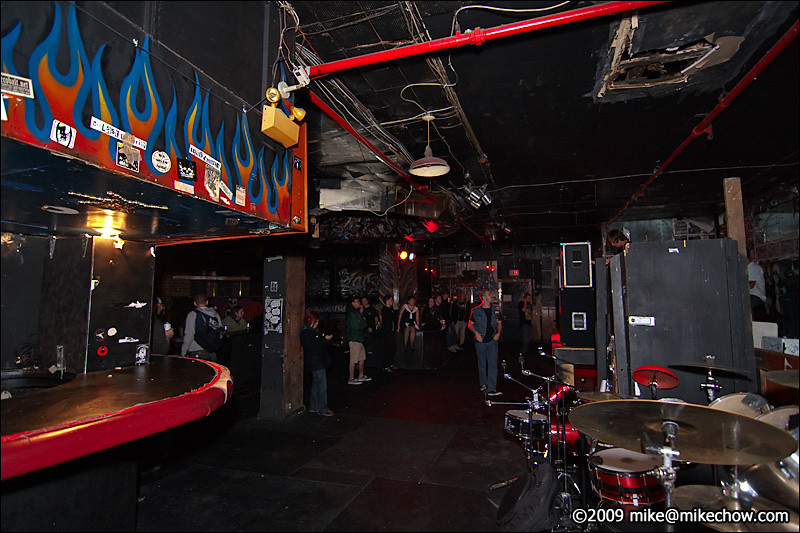 The Cobalt, September 27, 2009.<br /> <br /> Bar on the left, stage on the right.<br /> <br /> I'm fairly sure the padded pleather bar top is a remnant of the Cobalt's previous life as a strip bar.