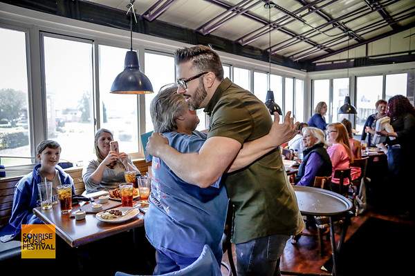 Danny Gokey greeting guests at SonRise Music Festival VIP Luncheon Friday 2-20-18 with Danny Gokey and Building 429