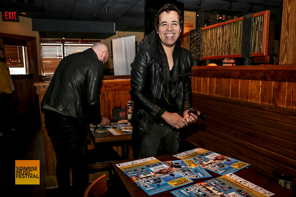 B429's Jesse Garcia and Aaron Branch signing posters - SonRise Music Festival VIP Luncheon Friday 2-20-18 with Danny Gokey and Building 429
