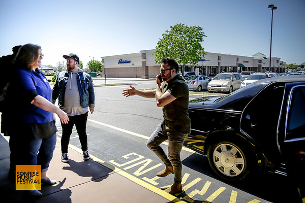 Danny Gokey arrives in the limo multitasking - SonRise Music Festival VIP Luncheon Friday 2-20-18 with Danny Gokey and Building 429