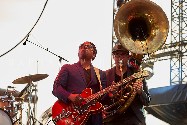 Delgres trio outdoor concert during Jazz à Juan Festival in Pinede Gould stage. July 2019. Leader Pascal Danaë (guitar and vocal) and Rafgee (sousaphone)