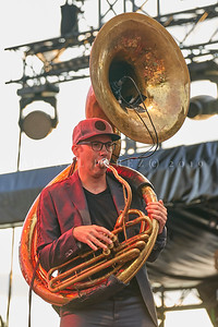 Delgres trio outdoor concert during Jazz à Juan Festival in Pinede Gould stage. July 2019. Rafgee playing sousaphone