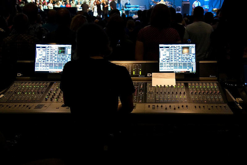 20 July 2009: The soundboard during Tommy Walker in concert at the 2009 National Worship Leader Conference at Church of the Resurrection in Leawood, KS.