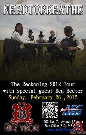 """NEEDTOBREATHE & Ben Rector """"The Reckoning Tour"""" February 26, 2012"""