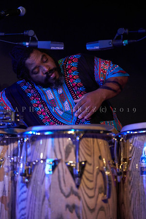 Cuban band El Comite show in Paris, New Morning. April 2019. Drummer Yarold Abreu.