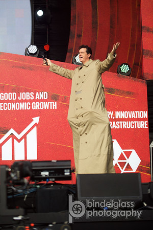 Stephen Colbert (and Hugh Jackman hidden in the coat) Hosts of The Global Citizen Festival Sept. 26, 2015 Great Lawn Central Park. Photo by, Perry Bindelglass