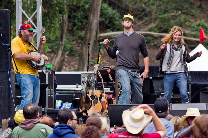 Dancers and banjo player on stage with Peter Himmelman at Hardly Strictly Bluegrass Festival in Golden Gate Park, SF