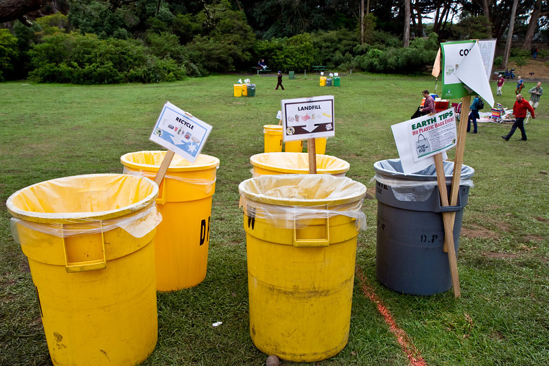 Trash cans at Hardly Strictly Bluegrass Festival in Golden Gate Park, SF