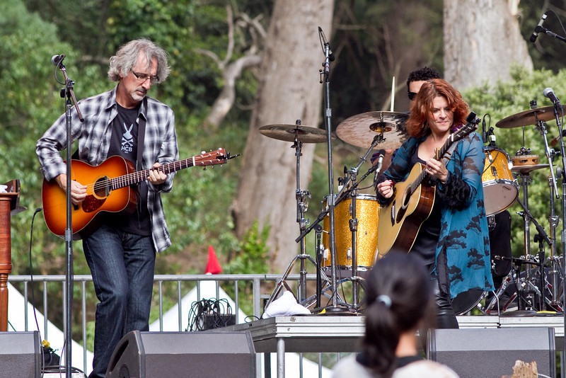 Rosanne Cash and her husband, John Leventhal, at Hardly Strictly Bluegrass Festival in Golden Gate Park, SF