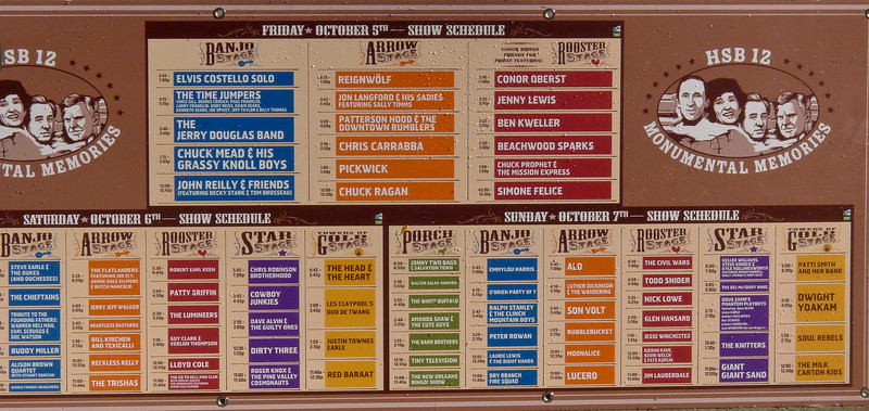 Poster with schedule at Hardly Strictly Bluegrass Festival, 2012.