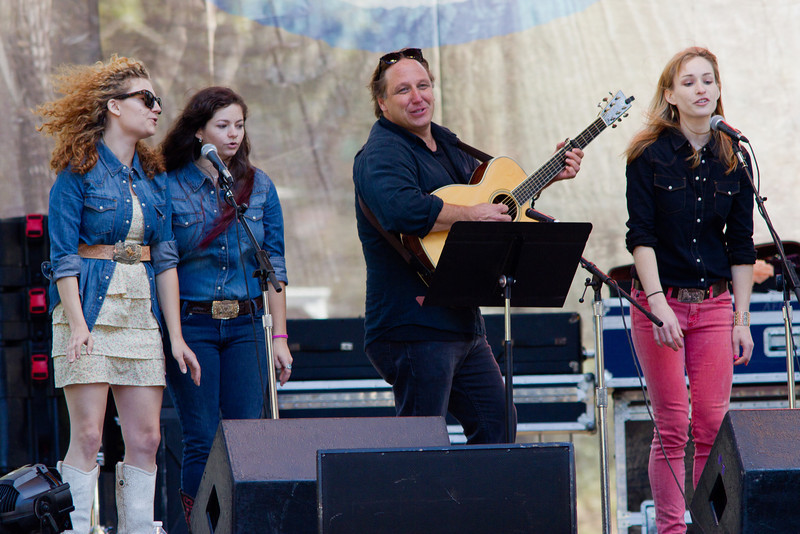 Warren Hellman's granddaughters and others on stage at the Hardly Strictly Bluegrass Festival, 2012.