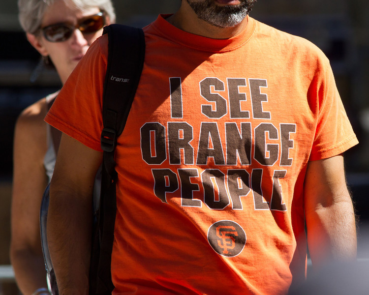 SF Giants orange people t-shirt.
