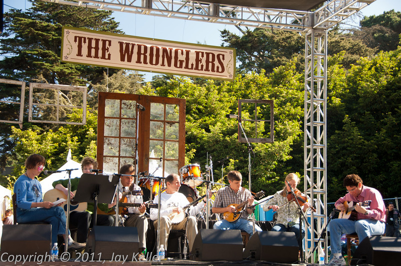The Wronglers, on the Porch Stage.  On Banjo is Warren Hellman, the philanthropist whose generosity makes the entire festival possible.