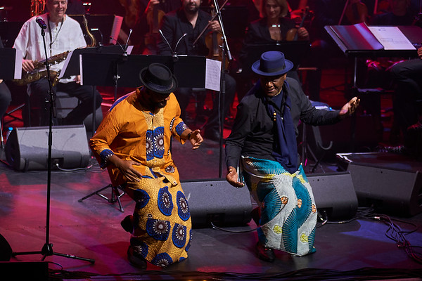 Manu Dibango grand show in Grand Rex hall, Paris celebrating his 60 years of carrer. Concert given with Manu Dibango band together with the symphonic Lamoureux orchestra directed by  Martin Fondse. Here guest Salle John (in blue) a specialist of Ambasse bey a Cameroon music style and his son.
