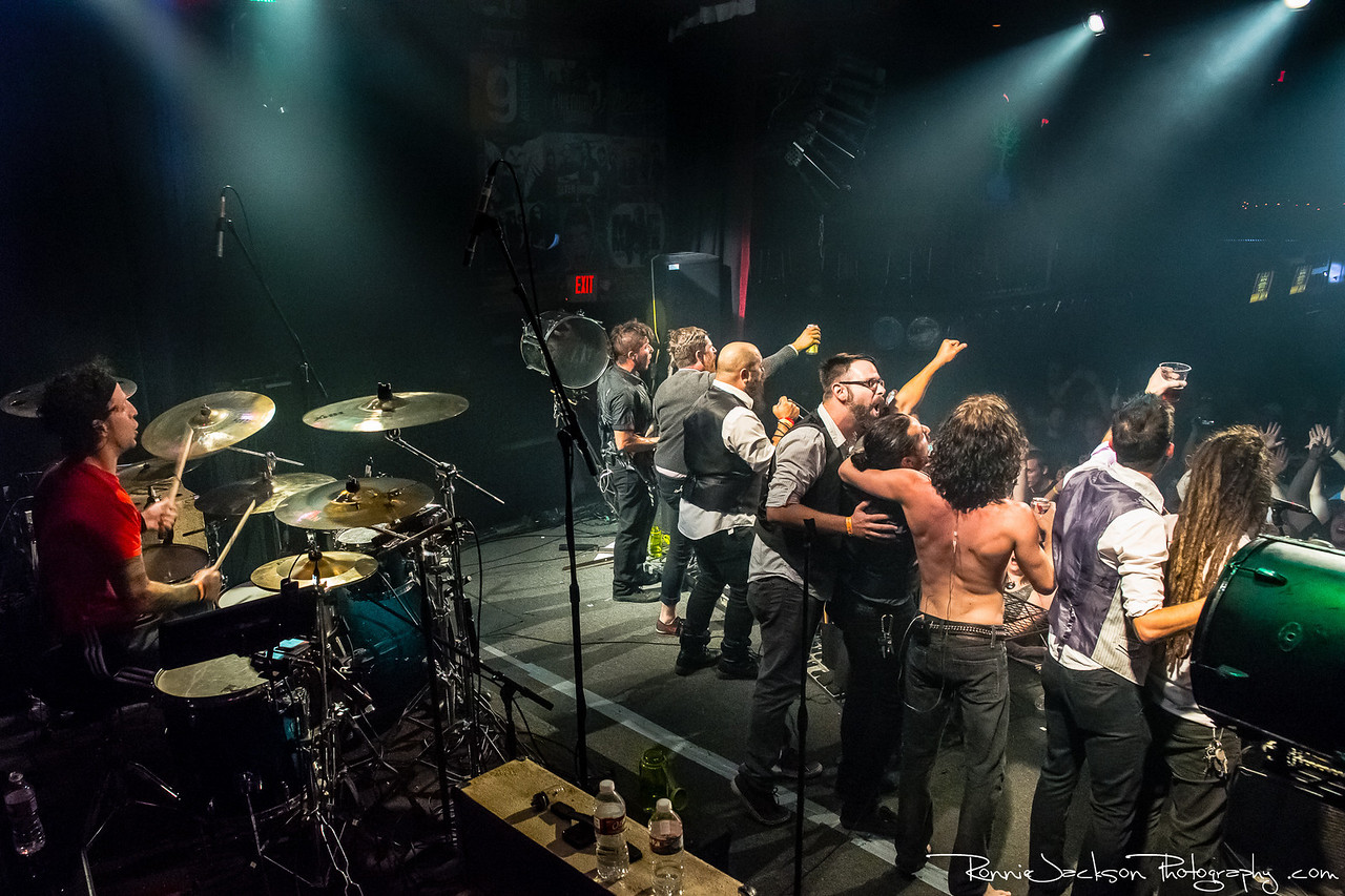 """Mark vollelunga, Jonny Hawkins, Paul Obrien, and Daniel Oliver of Nothing More performing at Trees Dallas.  Toasting the crowd with band members from """"The Last Place You Look""""/  6-22-2013 © 2013 Ronnie Jackson Photography"""