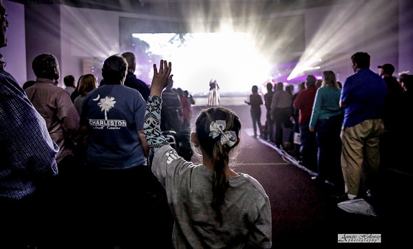Girl worshipping during Plumb's song at KLove Christmas Tour in VA 12-15-17 by Annette Holloway Photog
