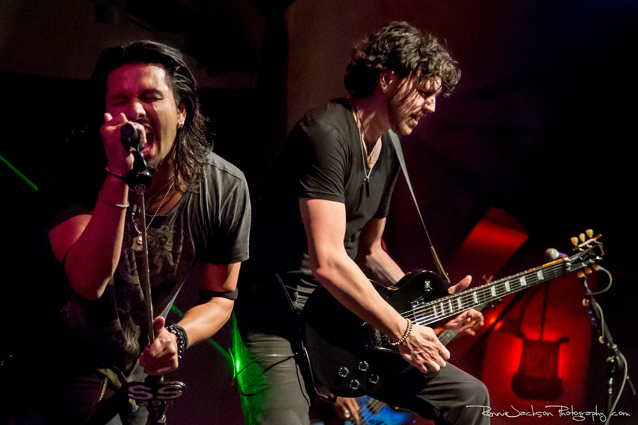 Leigh Kakaty and Nick Fuelling of Pop Evil performing at Cancer Sucks! Handlebars and Hotrods Benefit Concert<br /> <br /> Cain's Ballroom in Tulsa Ok.<br />  5/11/2013