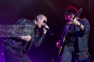 Stone Temple Pilots with Chester Bennington perform at the X103.9 FM Merry Meltdown at Citizen's Bank Arena in Ontario, CA. :Pictured Chester Bennington & Dean DeLeo (Photo by: Joe Lester / JoeLesterPhotos.com)