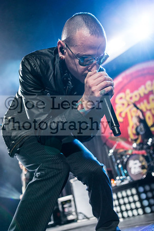 Stone Temple Pilots with Chester Bennington perform at the X103.9 FM Merry Meltdown at Citizen's Bank Arena in Ontario, CA. :Pictured Chester Bennington  (Photo by: Joe Lester / JoeLesterPhotos.com)