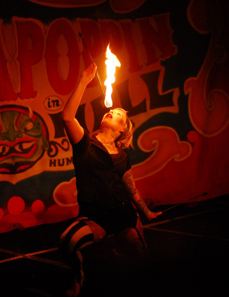 The Hellzapoppin Revue are a traveling Circus Sideshow Revue performing all sorts of crazy acts.